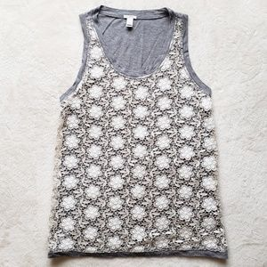 J. Crew Lace Accent Soft Gray Tank Top